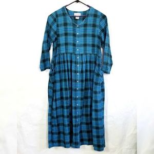 Woman Within Plaid Flannel Dress
